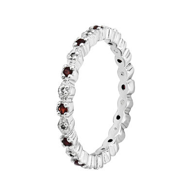 Personally Stackable Genuine Garnet & Diamond-Accent Eternity Ring