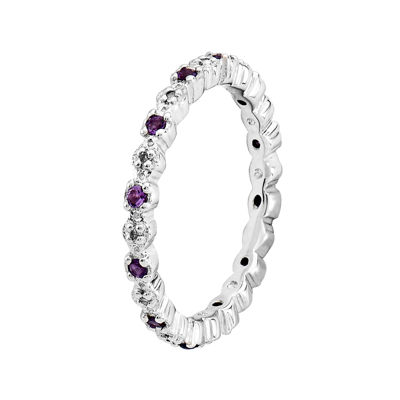 Personally Stackable Genuine Amethyst and Diamond-Accent Eternity Ring