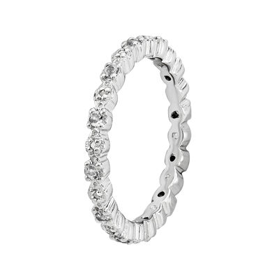 Personally Stackable Genuine White Topaz & Diamond-Accent Eternity Ring