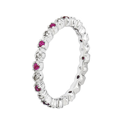 Personally Stackable Lab Created Ruby & Diamond-Accent Eternity Ring in Sterling Silver