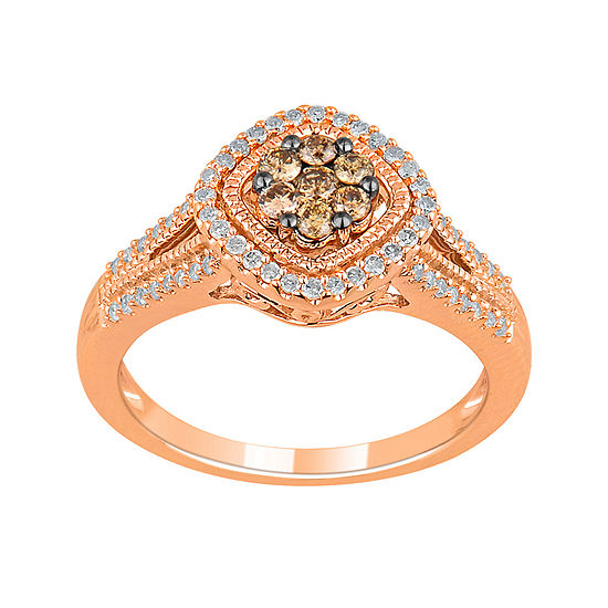 1/2 CT. T.W. Genuine White & Champagne Diamond 10K Rose Gold Ring