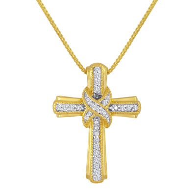 1/10 CT. T.W. Diamond 14K Yellow Gold Over Sterling Silver Cross Pendant Necklace