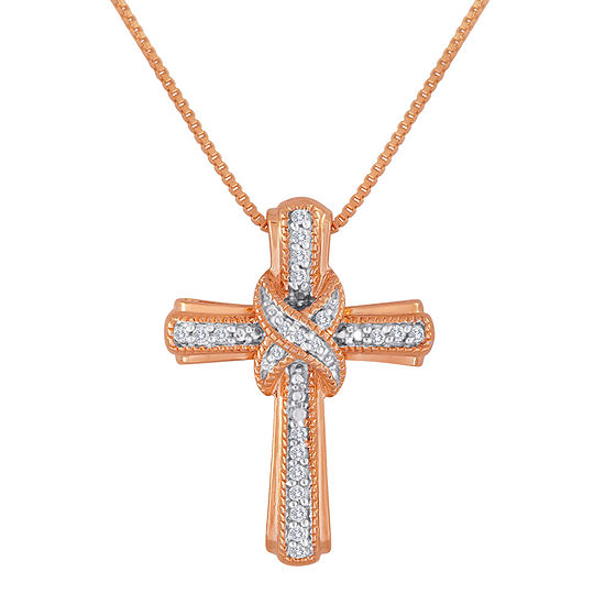 1/10 CT. T.W. Diamond 14K Rose Gold Over Sterling Silver Cross Pendant Necklace