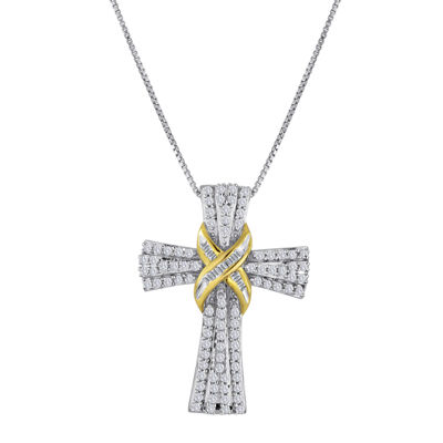 1/2 CT. T.W. Diamond Two-Tone Cross Pendant Necklace