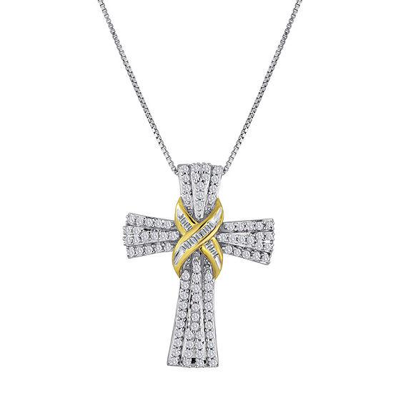 1/2 CT. T.W. Diamond Two-Tone Cross Pendant Necklace