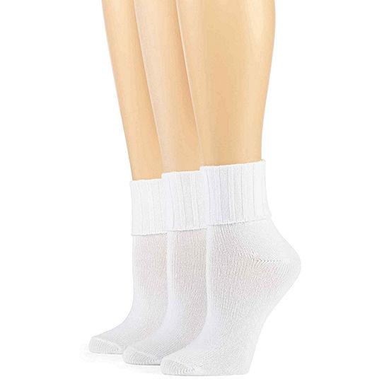 Mixit 3 Pack Turn-Cuff Socks- Womens