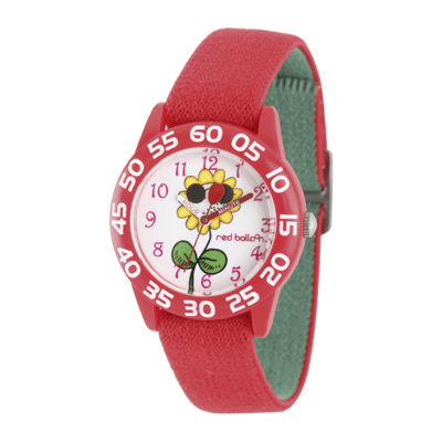 Red Balloon™ Girls Red Flower Strap Watch