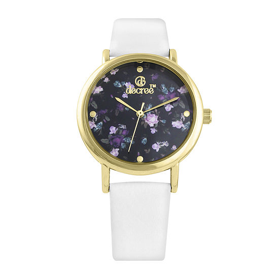 Decree® Womens Floral Dial White Strap Vintage-Style Watch