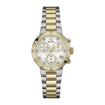 Bulova® Womens Diamonds Maiden Lane Mother-of-Pearl Dial Dress Watch 98R209