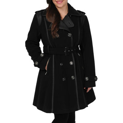 Excelled® Faux-Wool Belted Trench Coat
