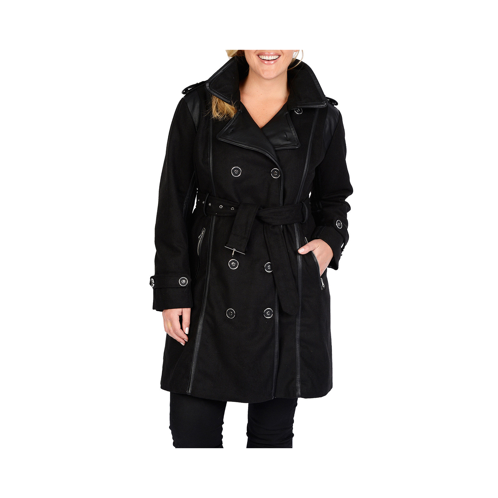 Excelled Faux-Wool Belted Trench Coat - Plus plus size,  plus size fashion plus size appare