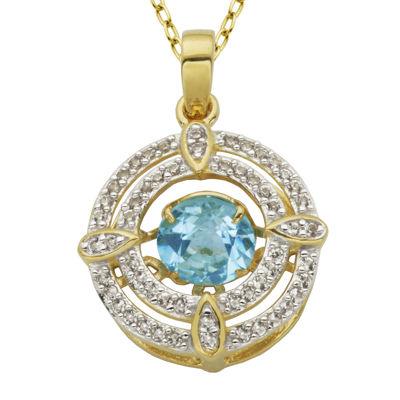 18K Gold Over Silver Genuine Blue Topaz and Lab-Created White Sapphire Pendant Necklace