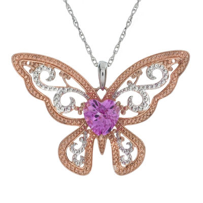 Lab-Created Pink Sapphire Butterfly Pendant Necklace