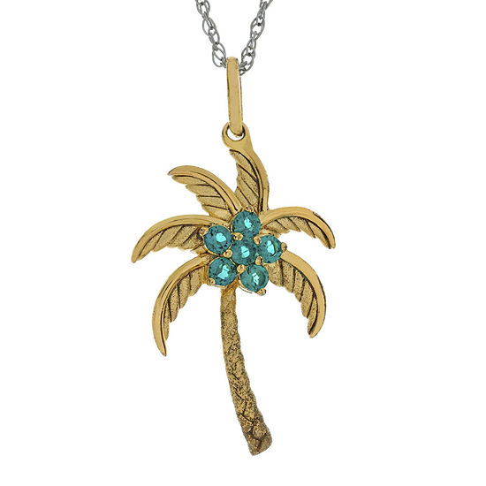 Simulated Emerald Palm Tree Pendant Necklace