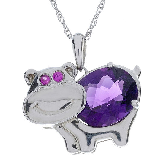 Lab Created Amethyst And Ruby Hippo Sterling Silver Pendant Necklace