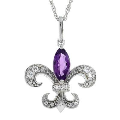 Lab-Created Amethyst and White Sapphire Fleur-de-Lis Pendant Necklace