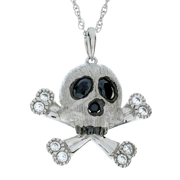 Genuine Onyx and Lab-Created White Sapphire Skull and Crossbones Sterling Silver Pendant Necklace