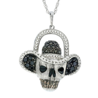 Genuine Black Spinel Skull and Hat Sterling Silver Pendant Necklace