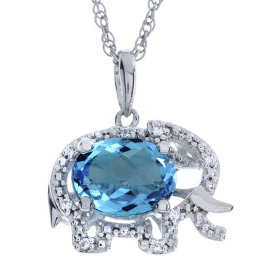 Simulated Blue Topaz Elephant Sterling Silver Pendant Necklace