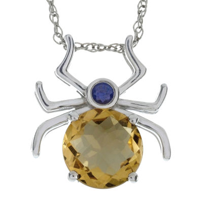 Lab-Created Citrine and Genuine Onyx Spider Sterling Silver Pendant Necklace