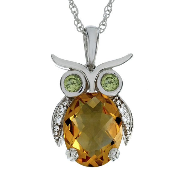 Lab-Created Citrine and Simulated Peridot Owl Sterling Silver Pendant Necklace