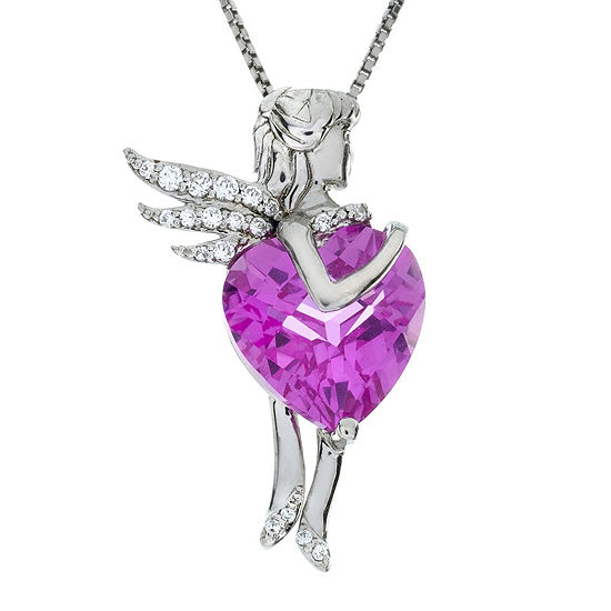 Lab-Created Pink and White Sapphire Fairy Sterling Silver Pendant Necklace