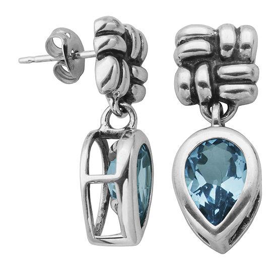 Genuine Sky Blue Topaz Oxidized Sterling Silver Drop Earrings