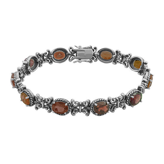 Genuine Garnet Oxidized Sterling Silver Tennis Bracelet