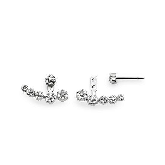 1/2 CT. T.W. Diamond 10K White Gold Graduated Cluster 2-in-1 Earrings
