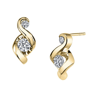 Juno Lucina® 1/4 CT. T.W. Diamond 14K Yellow Gold Swirl Stud Earrings