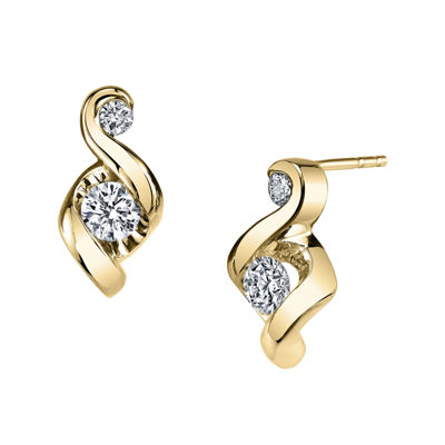 Juno Lucina® 1/5 CT. T.W. Diamond 14K Yellow Gold Swirl Stud Earrings