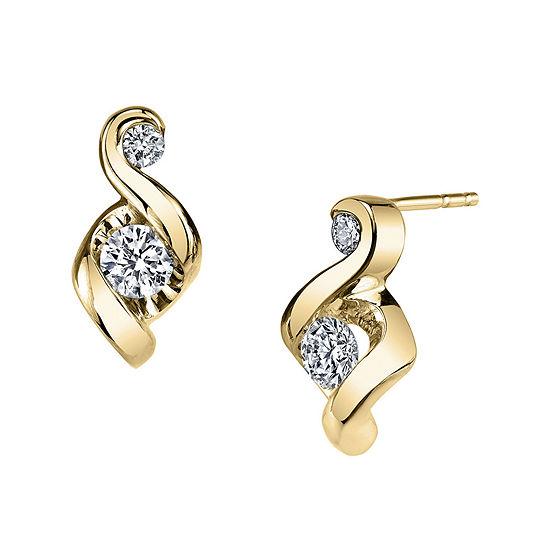 Juno Lucina® 1/5 CT. T.W. Diamond 14K Yellow Gold Swirl Stud Earrings