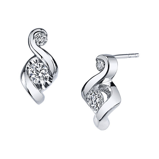 Juno Lucina® 1/4 CT. T.W. Diamond 14K White Gold Swirl Stud Earrings