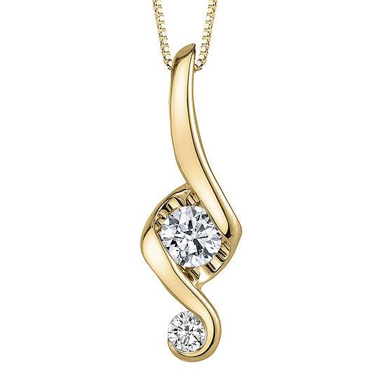 Juno Lucina® 1/5 CT. T.W. Diamond 14K Yellow Gold Swirl Pendant Necklace