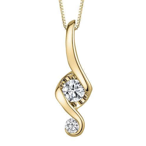 Juno Lucina® 3/8 CT. T.W. Diamond 14K Yellow Gold Swirl Pendant Necklace