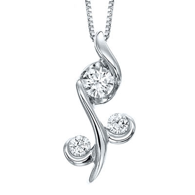 Juno Lucina® 1/4 CT. T.W. Diamond 14K White Gold Flower Pendant Necklace