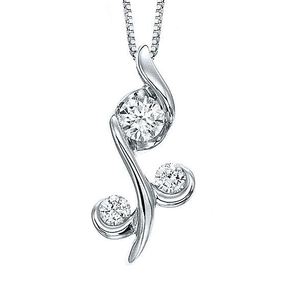 Juno Lucina® 1/4 CT. T.W. Diamond 14K White Gold Flower Pendant Necklace