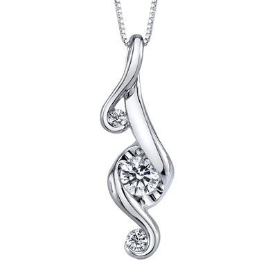 Juno Lucina® 1/3 CT. T.W. Diamond 14K White Gold Pendant Necklace