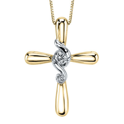 Juno Lucina®1/8 CT. T.W. Diamond 14K Two-Tone Gold Cross Pendant Necklace