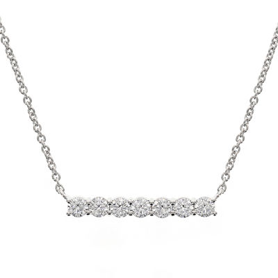 DiamonArt® Cubic Zirconia Sterling Silver 7-Cluster Bar Necklace