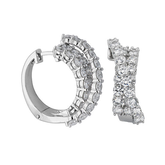 DiamonArt® Cubic Zirconia Sterling Silver Crisscross Hoop Earrings