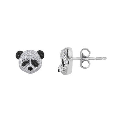 1/10 CT. T.W. White and Color-Enhanced Black Diamond Sterling Silver Panda Earrings