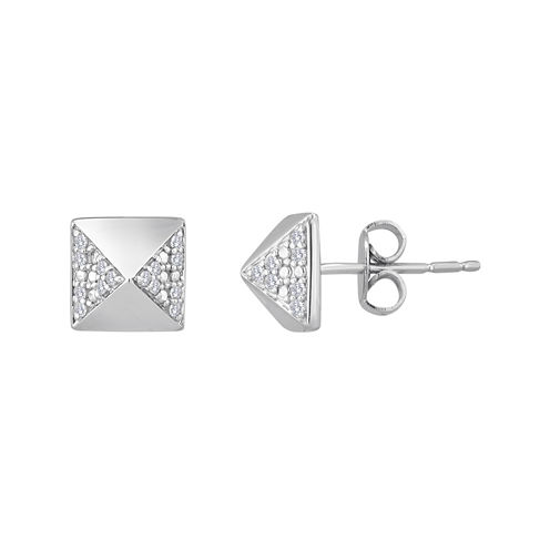 1/10 CT. T.W. Diamond 14K Yellow Gold Over Sterling Silver Pyramid Stud Earrings
