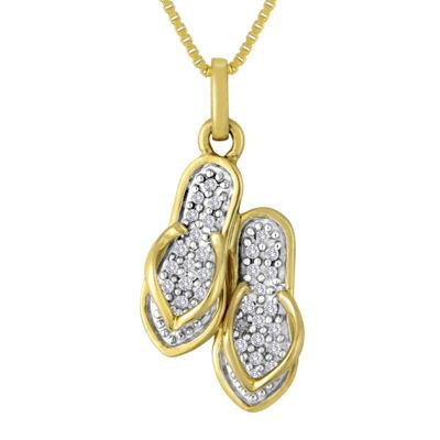 1/10 CT. T.W. Diamond Flip Flop Pendant Necklace