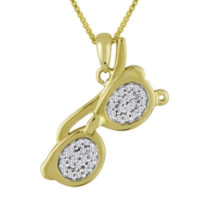1/10 CT. T.W. Diamond Sunglasses Pendant Necklace