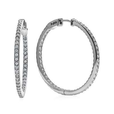 Diamond Glamour™ Diamond- and Crystal-Accent Sterling Silver Inside-Out 30mm Hoop Earrings