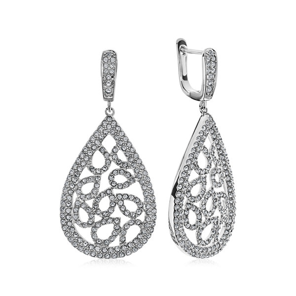 Diamond Glamour™ Diamond- and Crystal-Accent Sterling Silver Pear-Shaped Drop Earrings