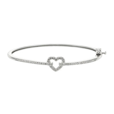 Diamond Glamour™ Diamond- and Crystal-Accent Sterling Silver Openwork Heart Bangle Bracelet