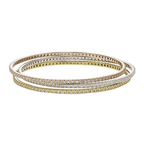 Diamond Glamour™ Diamond- and Crystal-Accent 3-pc. Stackable Bangle Bracelet Set