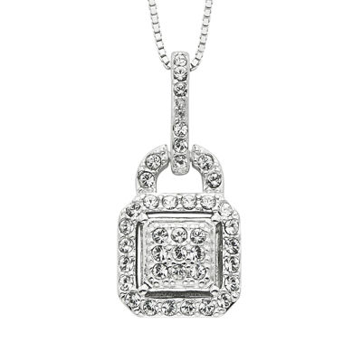 Diamond Glamour™ Diamond- and Crystal-Accent Sterling Silver Square Halo Pendant Necklace